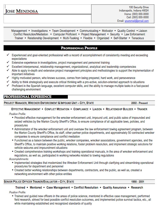 Law Enforcement Resume Template  Resume Format Download Pdf