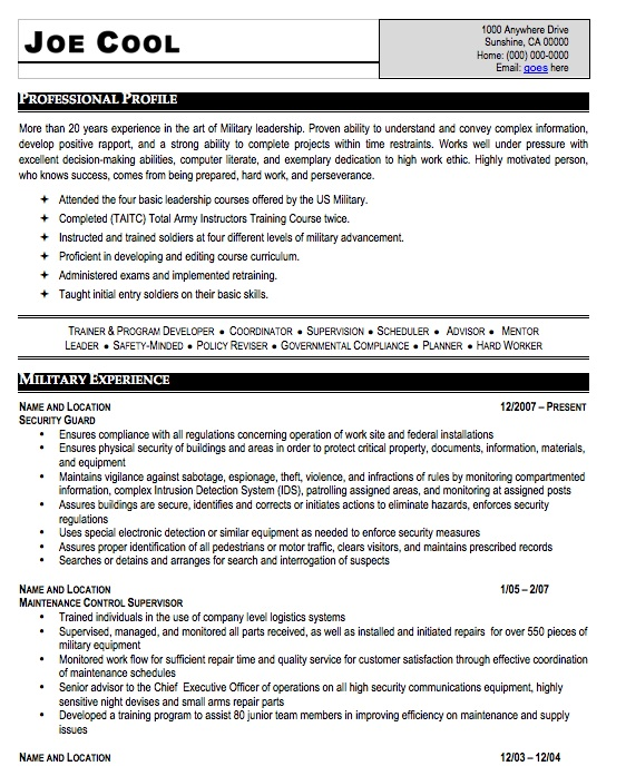 Military Resume Examples] Military Resume Occupational Examples