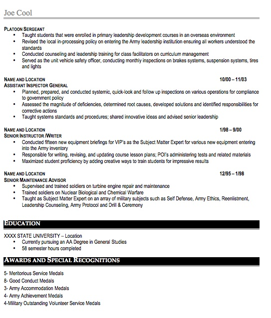 military resume sample  free resume template  professional military resume format